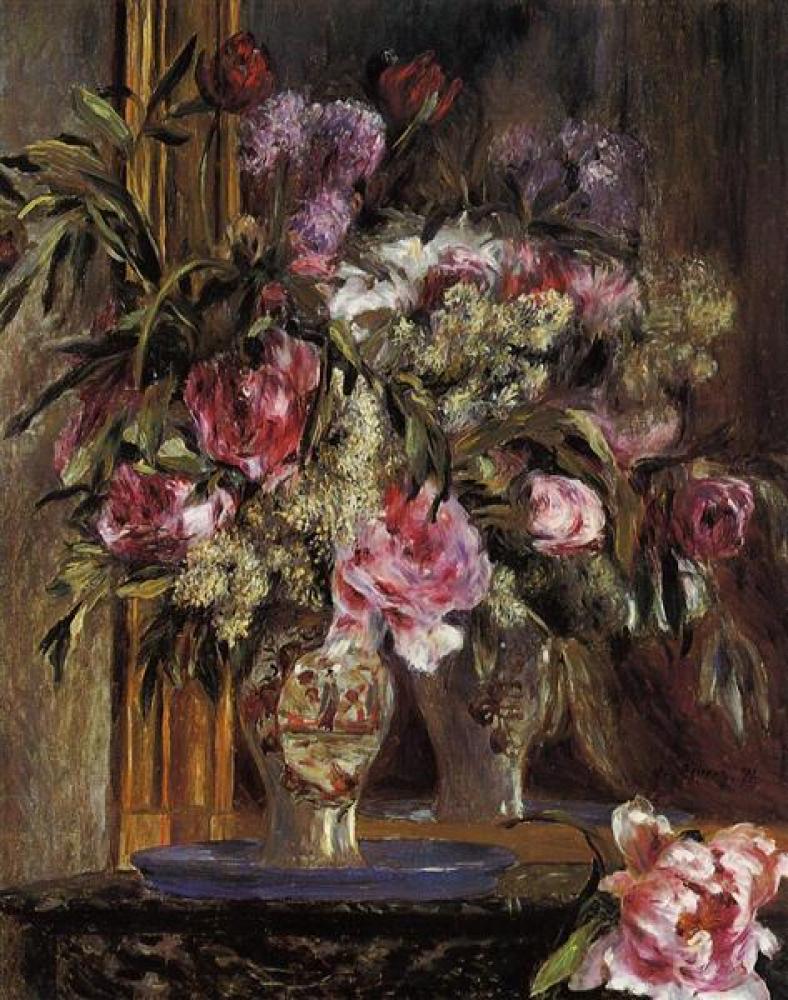 Renoir Çiçek Vazosu Yağlıboya Tablo, Kanvas Tablo, Pierre Auguste Renoir, kanvas tablo, canvas print sales