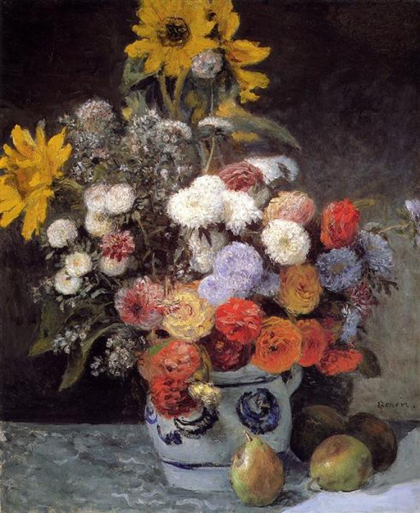 Renoir Toprak Kapta Karışık Çiçekler Yağlıboya Tablo, Kanvas Tablo, Pierre Auguste Renoir, kanvas tablo, canvas print sales
