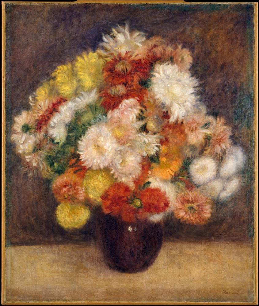 Pierre Auguste Renoir Bouquet of Chrysanthemums, Canvas, Pierre Auguste Renoir, kanvas tablo, canvas print sales