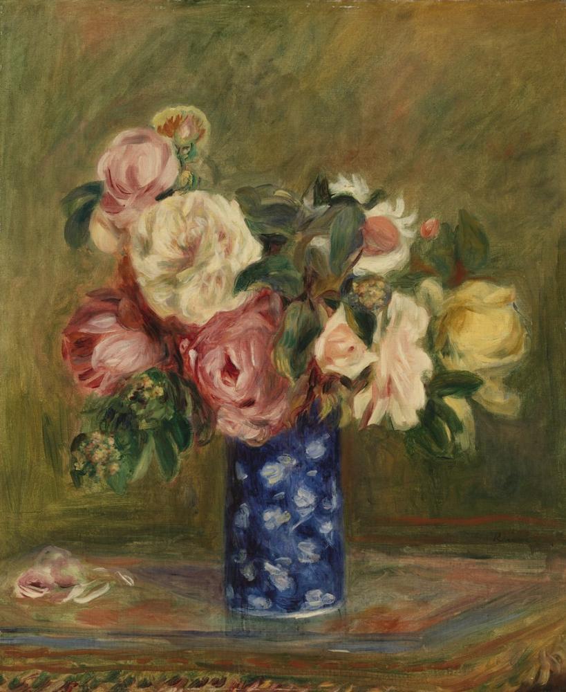 Pierre Auguste Renoir Bouquet of Roses, Canvas, Pierre Auguste Renoir, kanvas tablo, canvas print sales