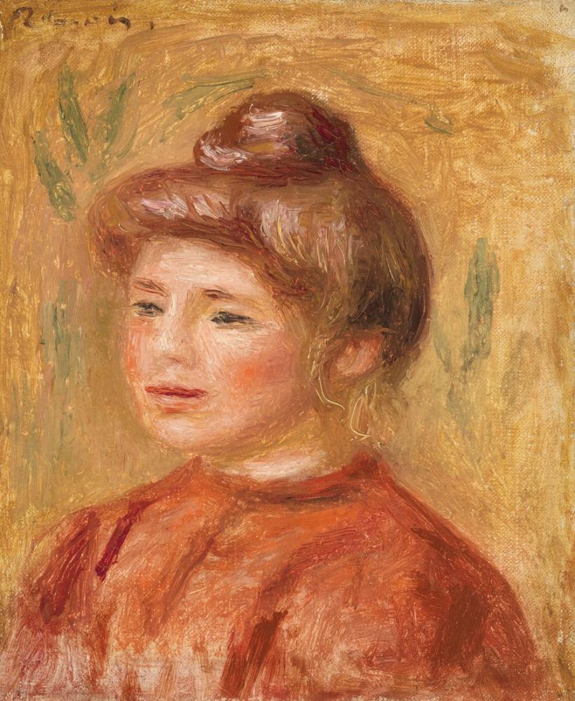 Pierre Auguste Renoir Bust of Woman in Red, Canvas, Pierre Auguste Renoir, kanvas tablo, canvas print sales