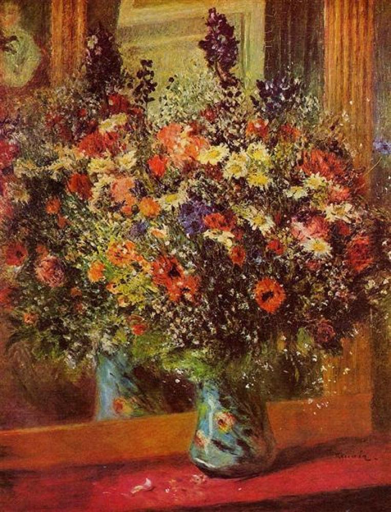Renoir Aynanın Önündeki Buket Yağlıboya Tablo, Kanvas Tablo, Pierre Auguste Renoir, kanvas tablo, canvas print sales