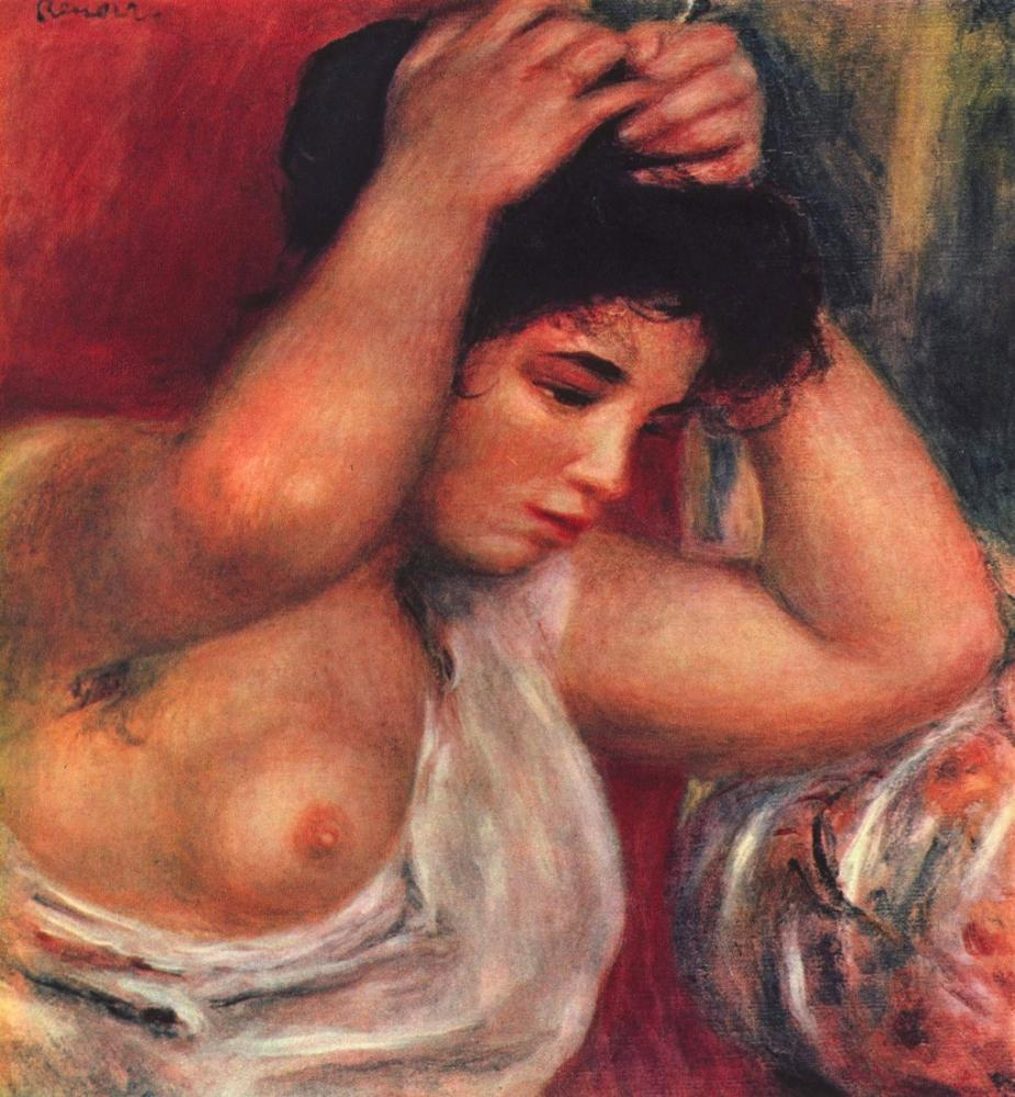 Pierre Auguste Renoir Genç Kadın Kuaförlüğü, Kanvas Tablo, Pierre Auguste Renoir, kanvas tablo, canvas print sales
