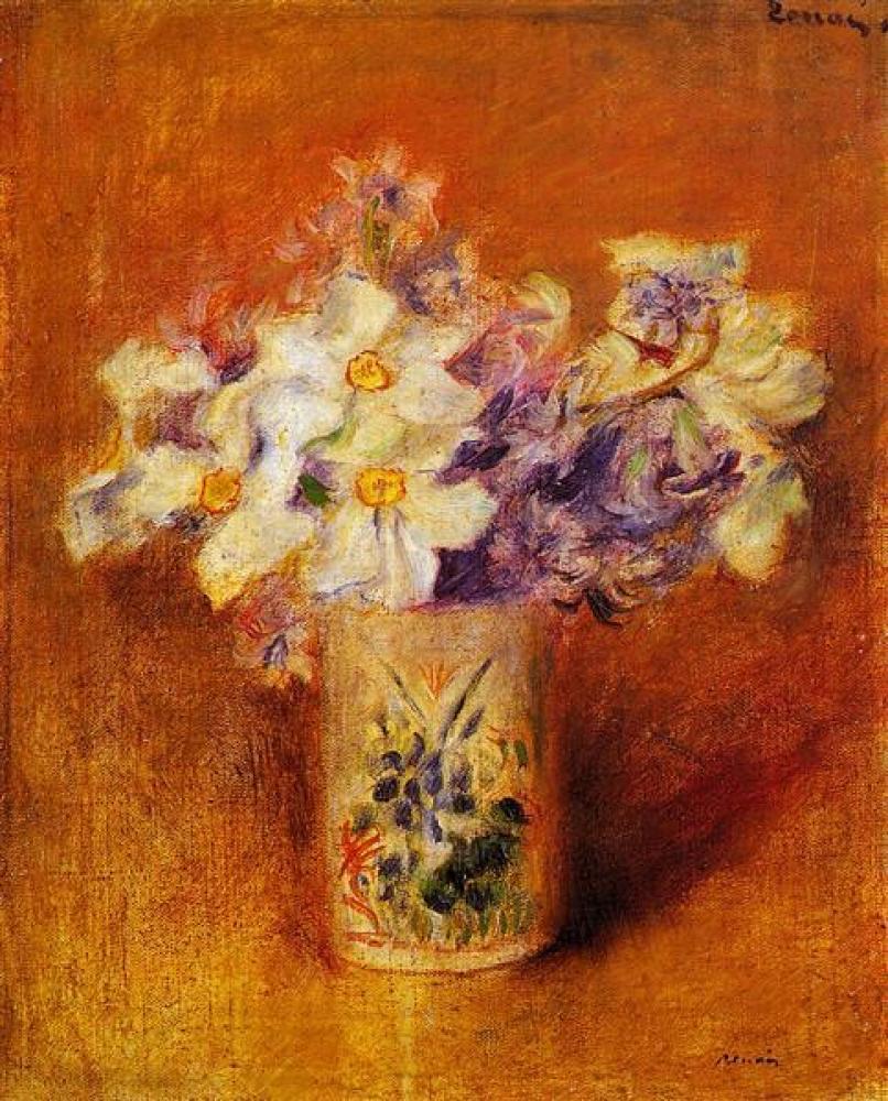 Renoir Vazodaki Çiçekler 2 Yağlıboya Tablo, Kanvas Tablo, Pierre Auguste Renoir, kanvas tablo, canvas print sales