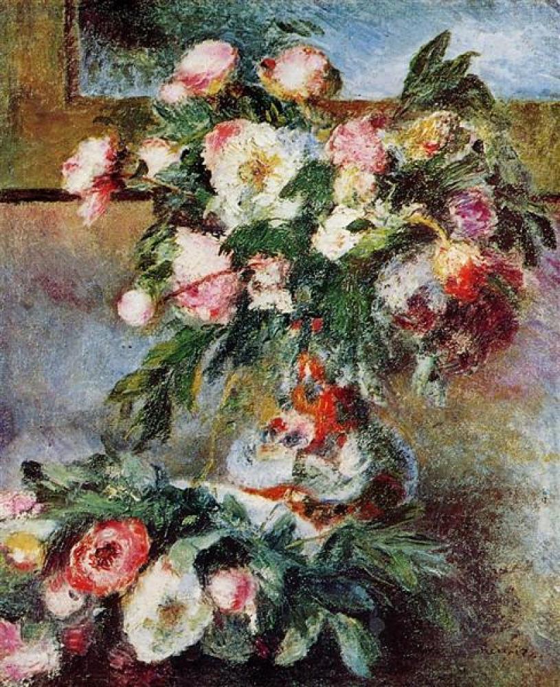 Renoir Şakayıklar Yağlıboya Tablo, Kanvas Tablo, Pierre Auguste Renoir, kanvas tablo, canvas print sales