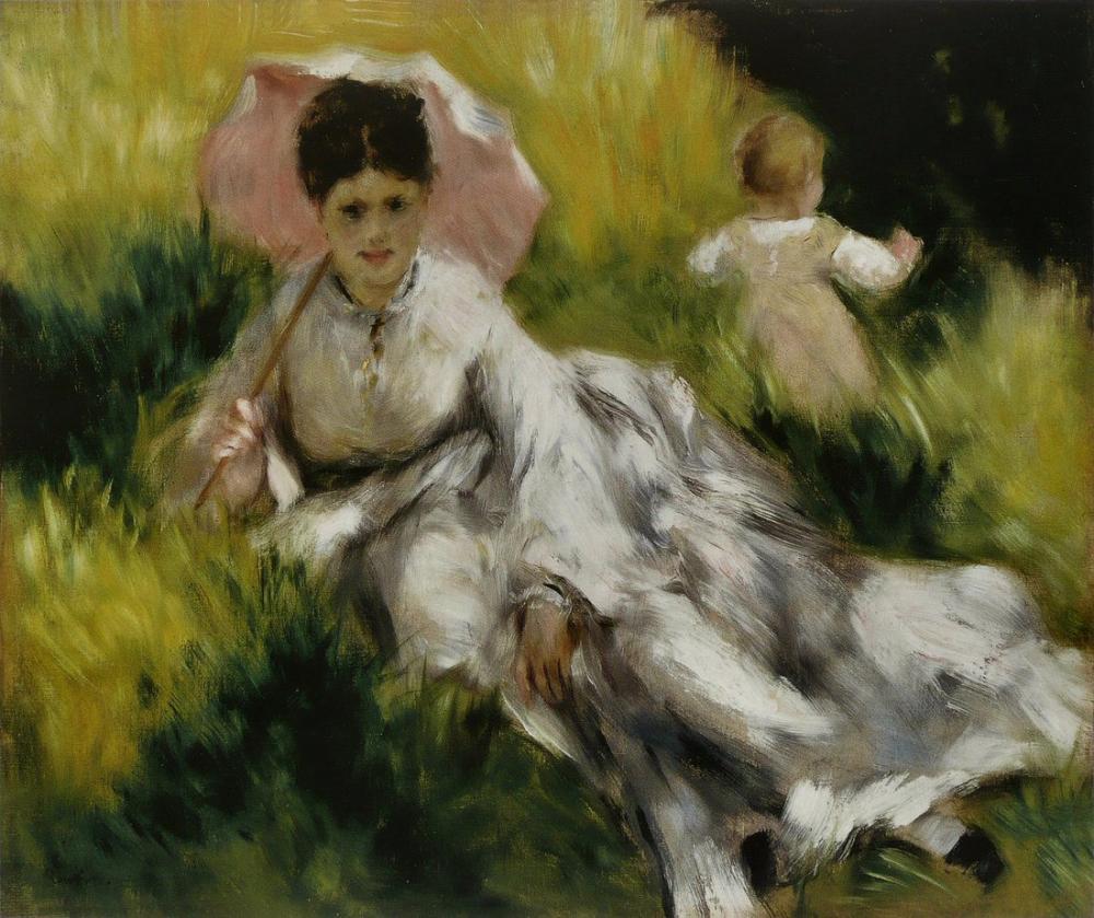 Pierre Auguste Renoir Femme A l Ombrelle Et Enfant, Canvas, Pierre Auguste Renoir, kanvas tablo, canvas print sales