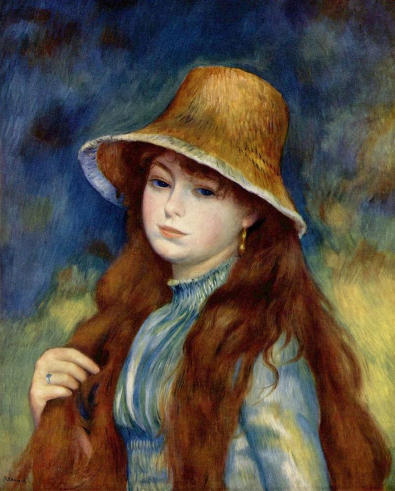 Pierre Auguste Renoir Hasir Sapkali Kiz Pierre Auguste