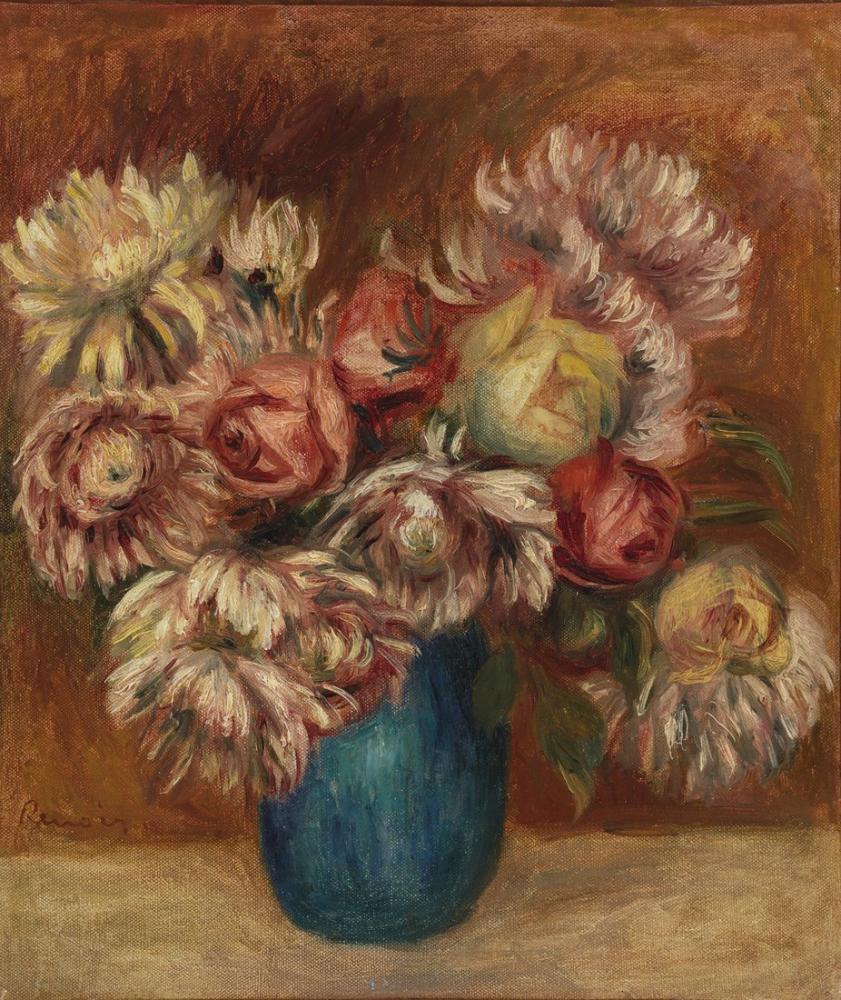 Pierre Auguste Renoir Flowers in a Green Vase, Canvas, Pierre Auguste Renoir, kanvas tablo, canvas print sales