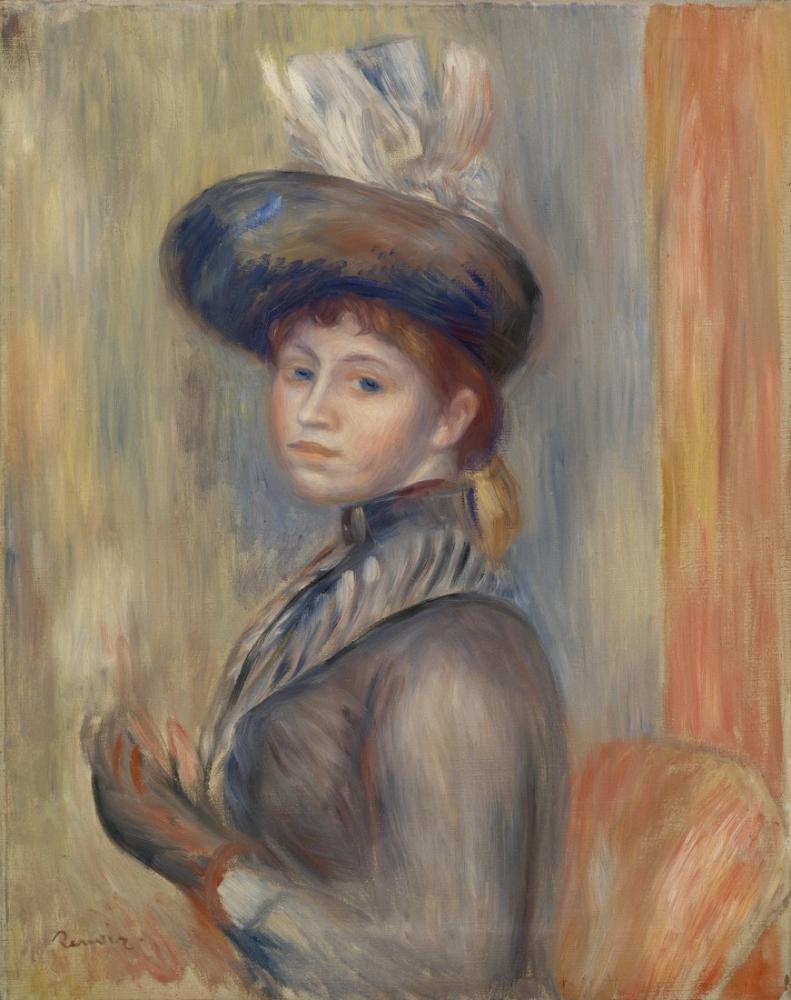 Pierre Auguste Renoir Girl in Gray Blue, Canvas, Pierre Auguste Renoir, kanvas tablo, canvas print sales