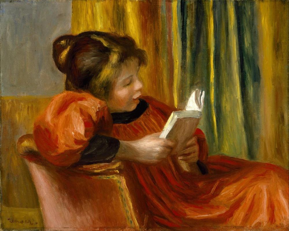 Pierre Auguste Renoir Girl Reading, Canvas, Pierre Auguste Renoir, kanvas tablo, canvas print sales