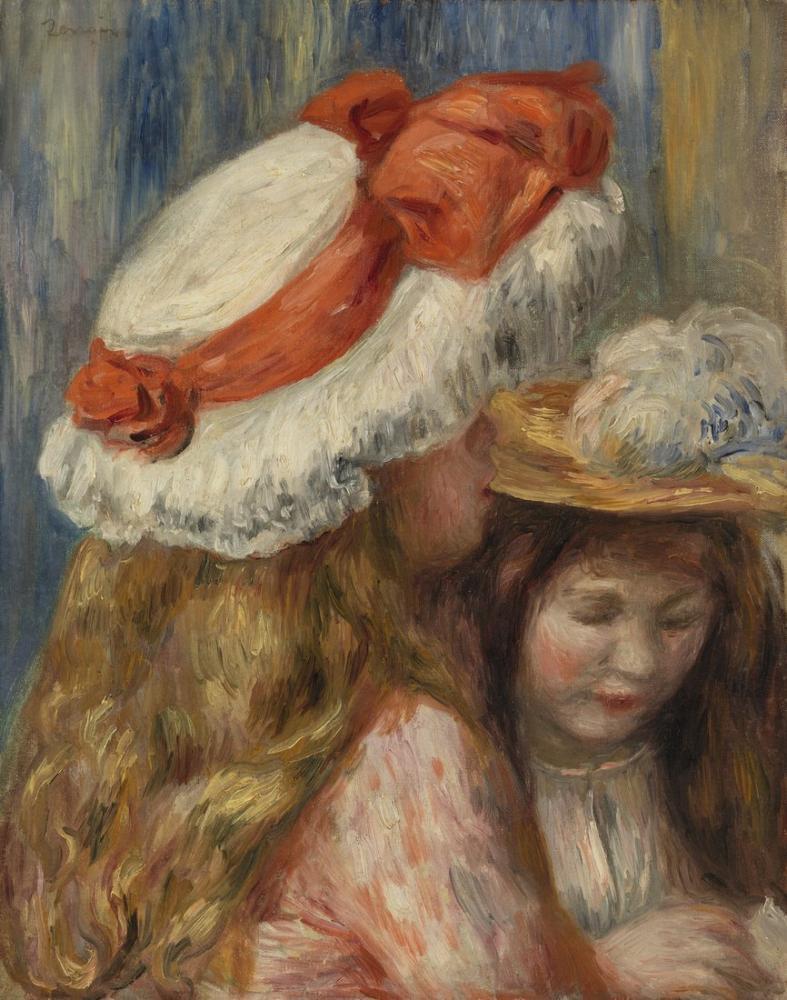 Pierre Auguste Renoir Girls with Hats, Canvas, Pierre Auguste Renoir, kanvas tablo, canvas print sales