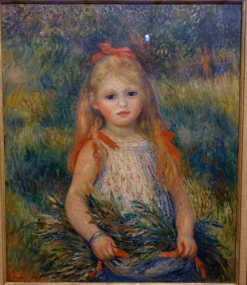 Pierre Auguste Renoir Girl with Flowers 1888, Canvas, Pierre Auguste Renoir, kanvas tablo, canvas print sales