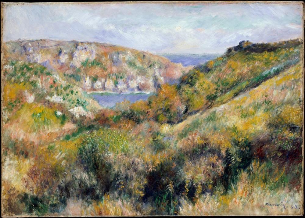 Pierre Auguste Renoir Hills Around the Bay of Moulin Huet Guernsey, Canvas, Pierre Auguste Renoir, kanvas tablo, canvas print sales