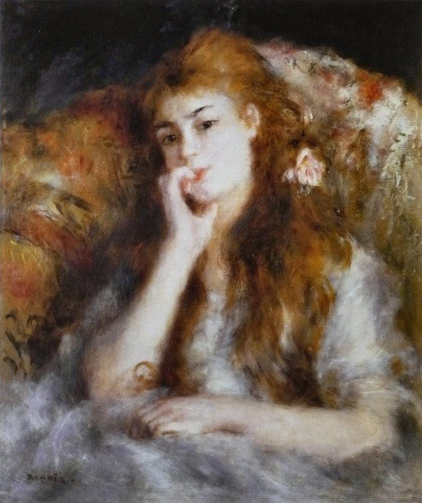 Pierre Auguste Renoir Jeune Femme Assise La Pensee, Canvas, Pierre Auguste Renoir, kanvas tablo, canvas print sales