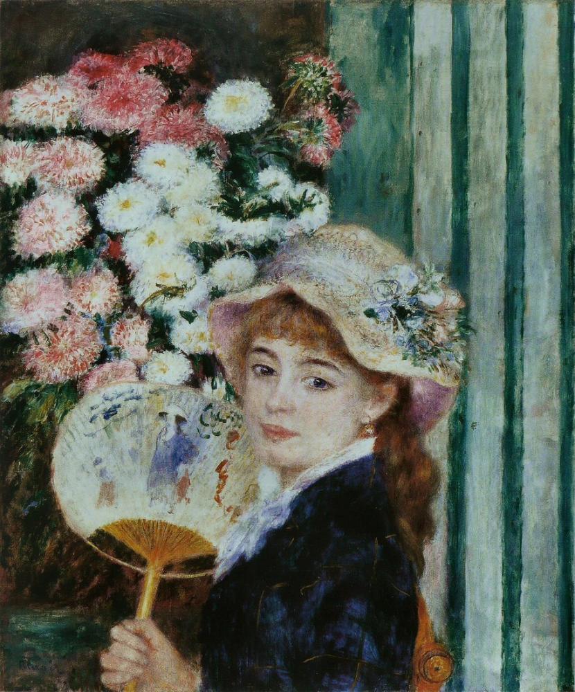 Pierre Auguste Renoir Jeune Fille Avec Un Eventail, Canvas, Pierre Auguste Renoir, kanvas tablo, canvas print sales