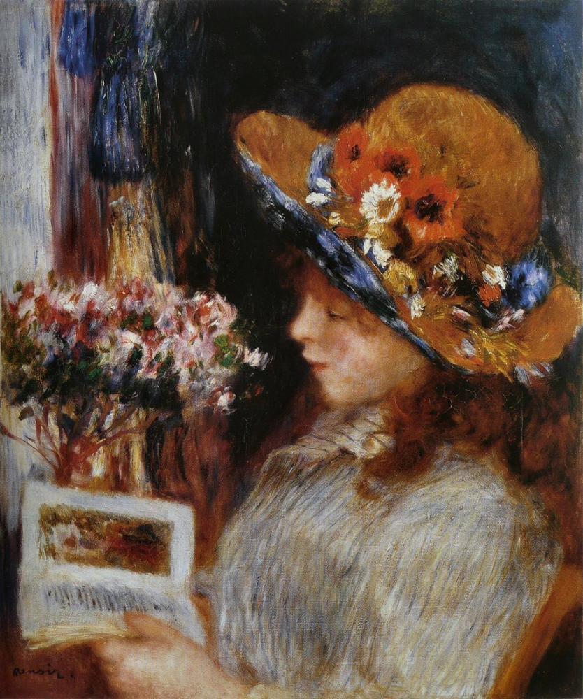 Pierre Auguste Renoir Jeune Fille Lisant, Canvas, Pierre Auguste Renoir, kanvas tablo, canvas print sales
