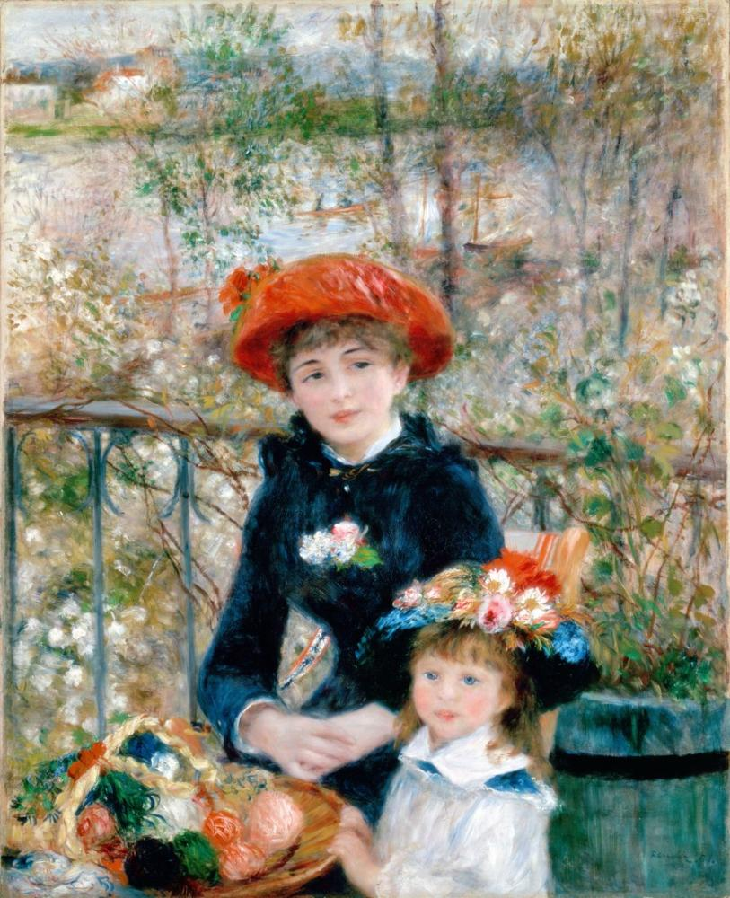 Pierre Auguste Renoir The Two Sisters on the Terrace, Canvas, Pierre Auguste Renoir, kanvas tablo, canvas print sales