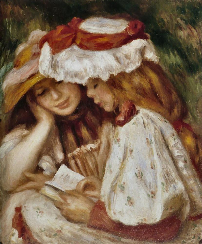 Pierre Auguste Renoir Jeune Filles Lisant, Canvas, Pierre Auguste Renoir, kanvas tablo, canvas print sales