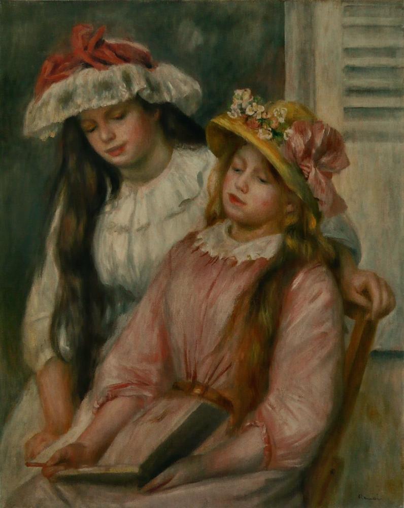 Pierre Auguste Renoir Jeune Filles Regardant Un Album, Canvas, Pierre Auguste Renoir, kanvas tablo, canvas print sales