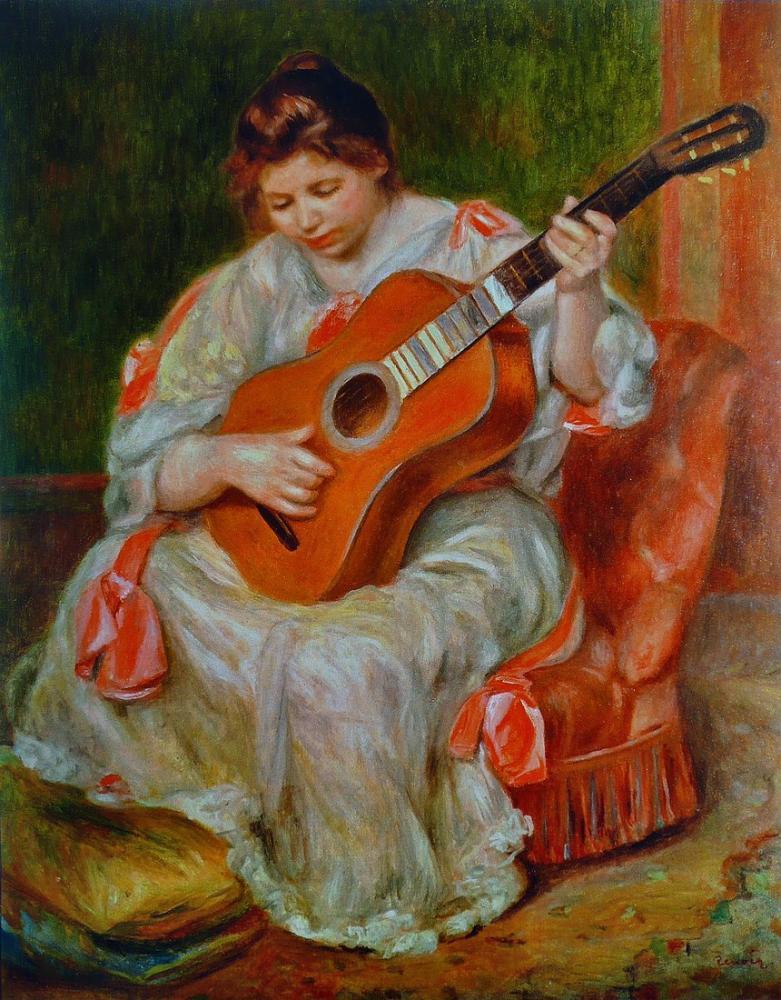 Pierre Auguste Renoir Guitar Player, Canvas, Pierre Auguste Renoir, kanvas tablo, canvas print sales