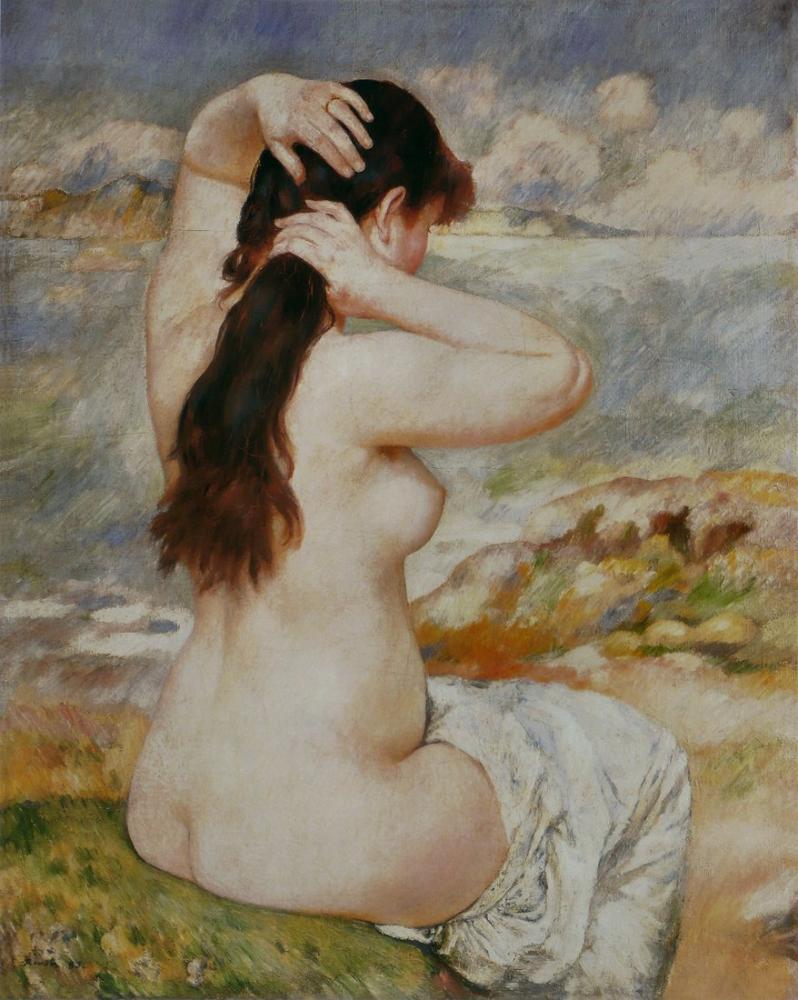Pierre Auguste Renoir Baigneuse Coiffure Saçını Düzenliyor, Kanvas Tablo, Pierre Auguste Renoir, kanvas tablo, canvas print sales