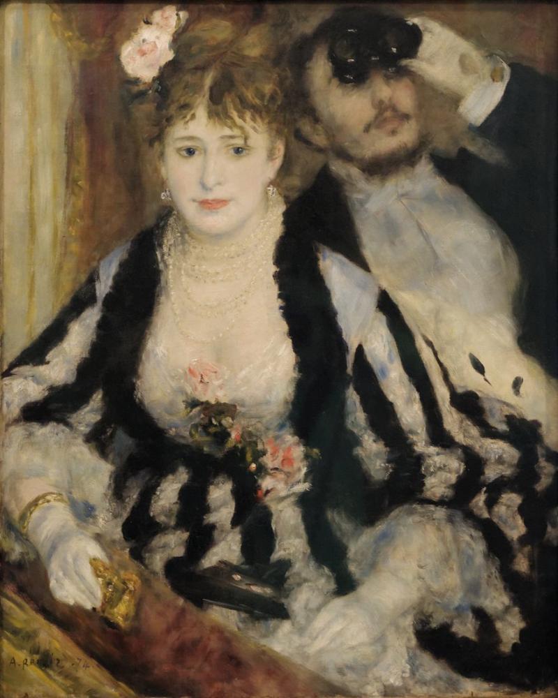 Pierre Auguste Renoir La Loge 1874, Canvas, Pierre Auguste Renoir, kanvas tablo, canvas print sales