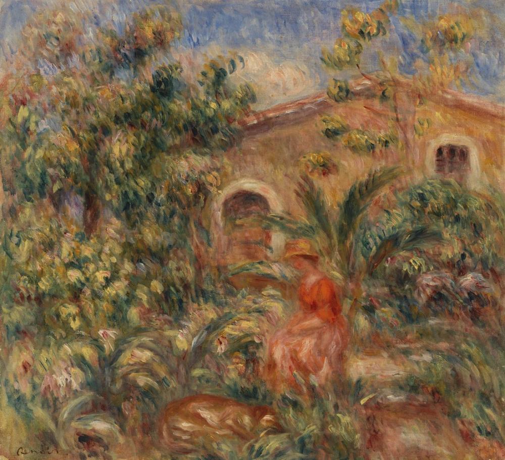 Pierre Auguste Renoir Landscape with Woman and Dog, Canvas, Pierre Auguste Renoir, kanvas tablo, canvas print sales