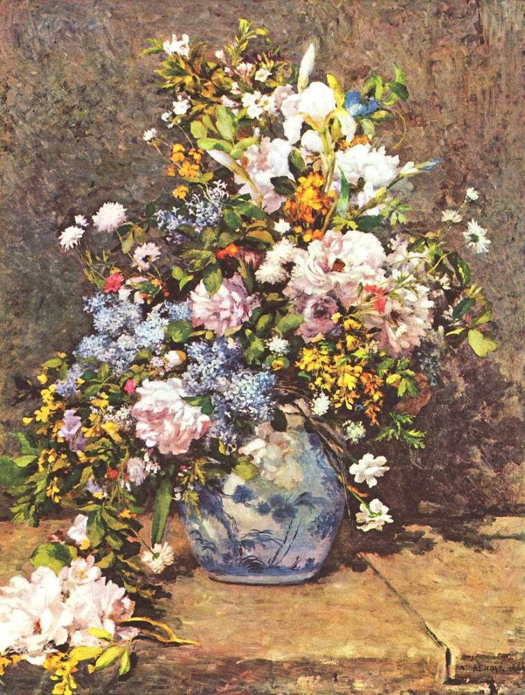 Pierre Auguste Renoir Flowers in a Vase, Canvas, Pierre Auguste Renoir, kanvas tablo, canvas print sales