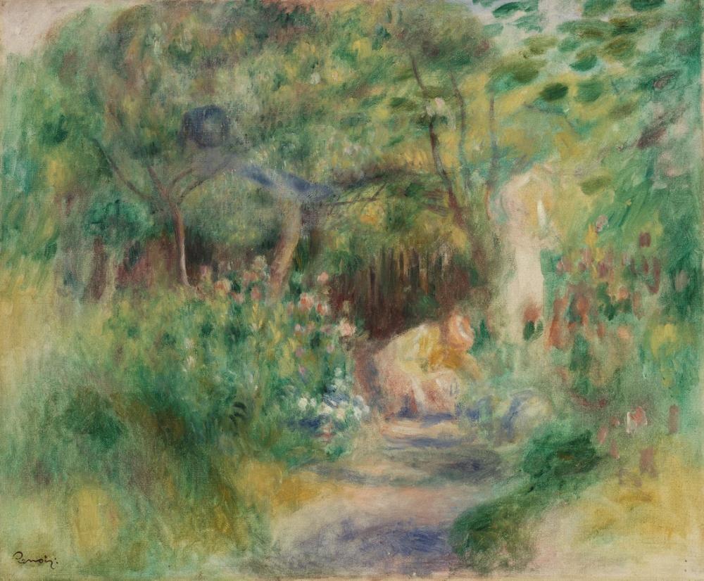 Pierre Auguste Renoir Landscape with Woman Gardening, Canvas, Pierre Auguste Renoir, kanvas tablo, canvas print sales