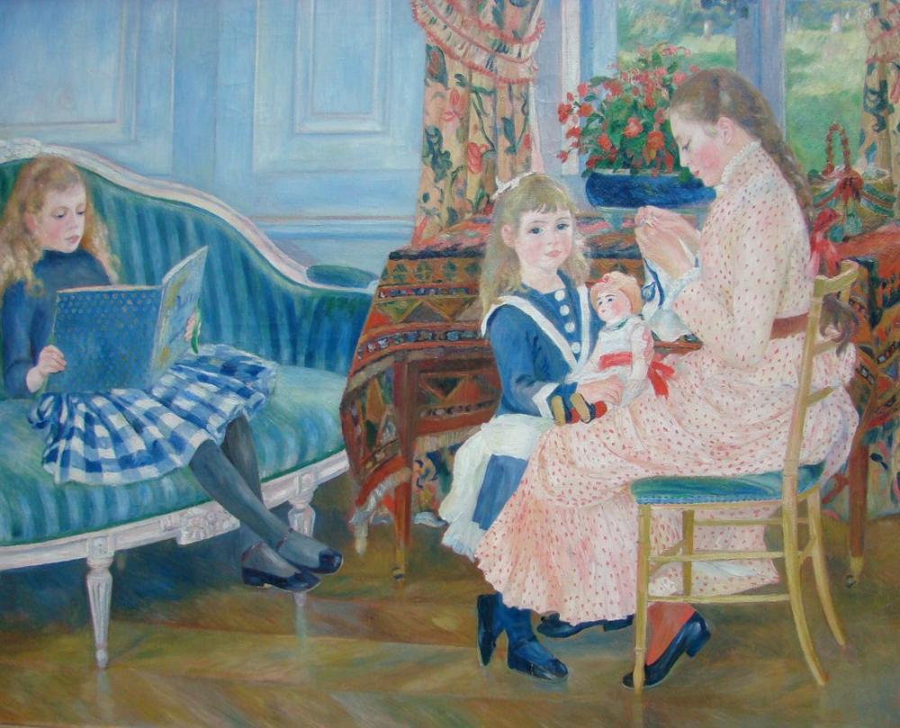Pierre Auguste Renoir Afternoon of the Children in Wargemont, Canvas, Pierre Auguste Renoir, kanvas tablo, canvas print sales