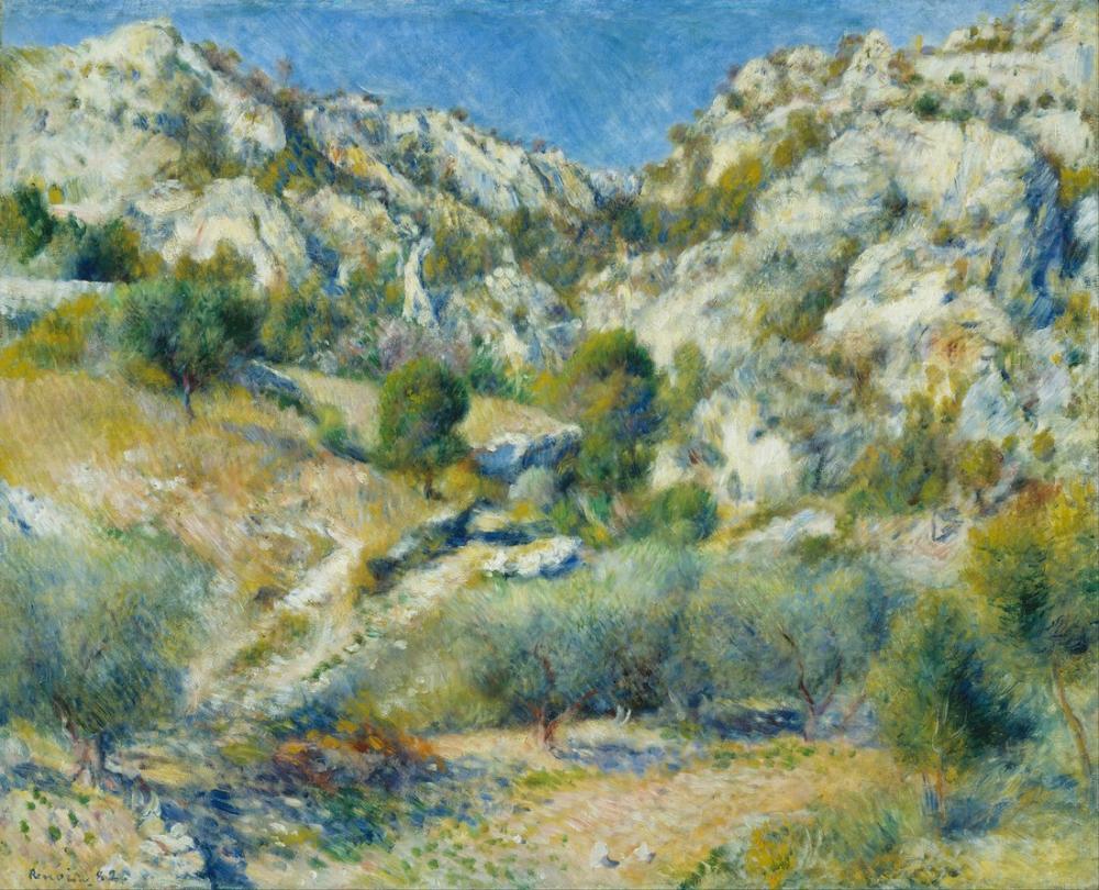 Pierre Auguste Renoir Rocky Crags at Le Estaque, Canvas, Pierre Auguste Renoir, kanvas tablo, canvas print sales