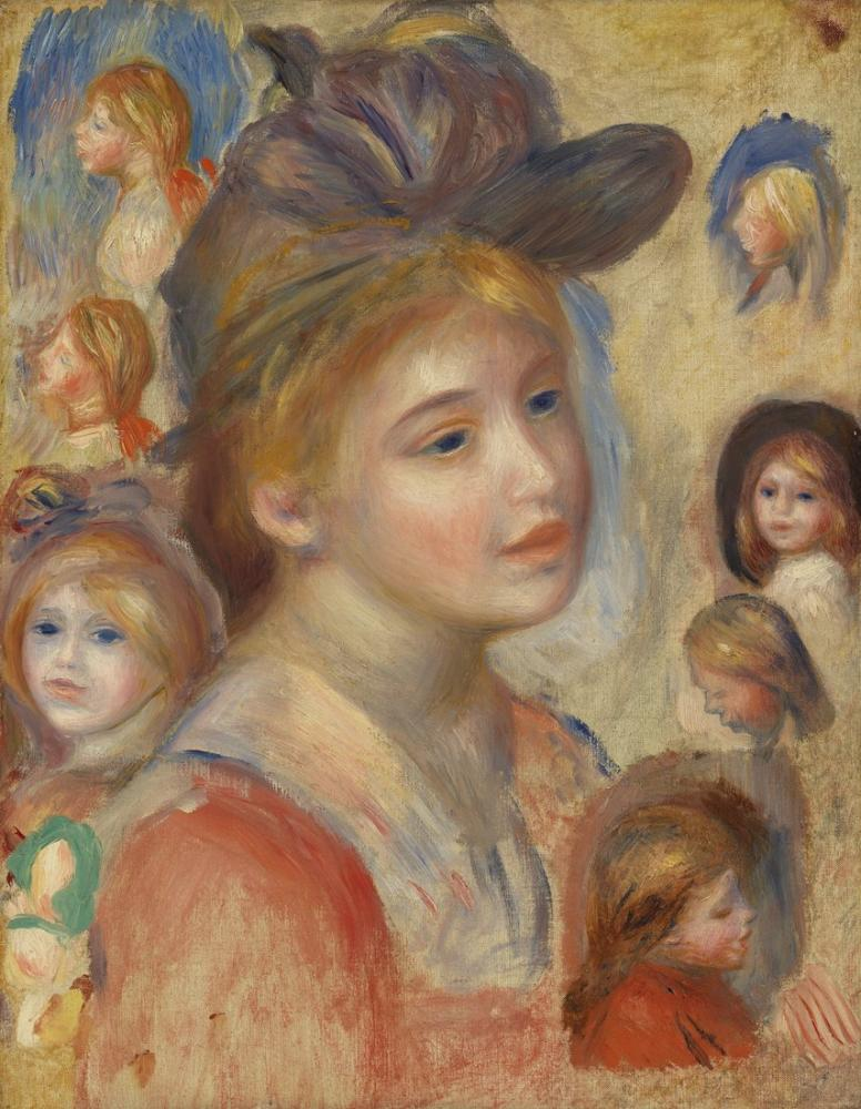 Pierre Auguste Renoir Study of Girls Heads, Canvas, Pierre Auguste Renoir, kanvas tablo, canvas print sales