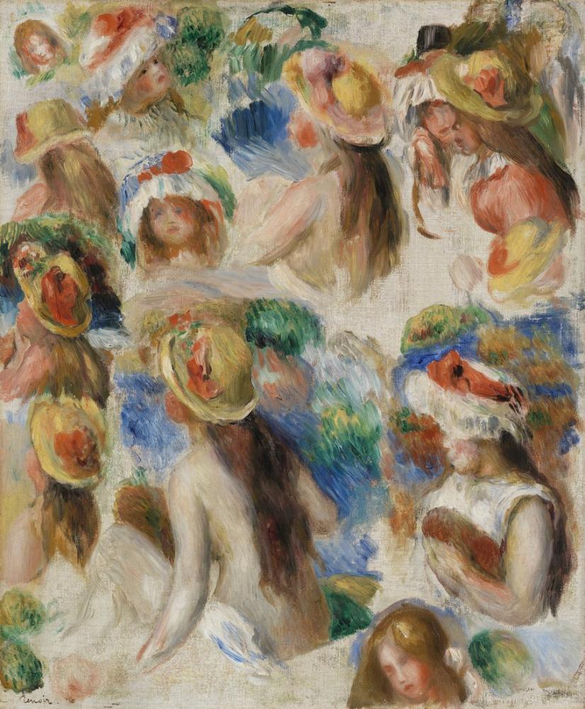 Pierre Auguste Renoir Study of Heads, Canvas, Pierre Auguste Renoir, kanvas tablo, canvas print sales