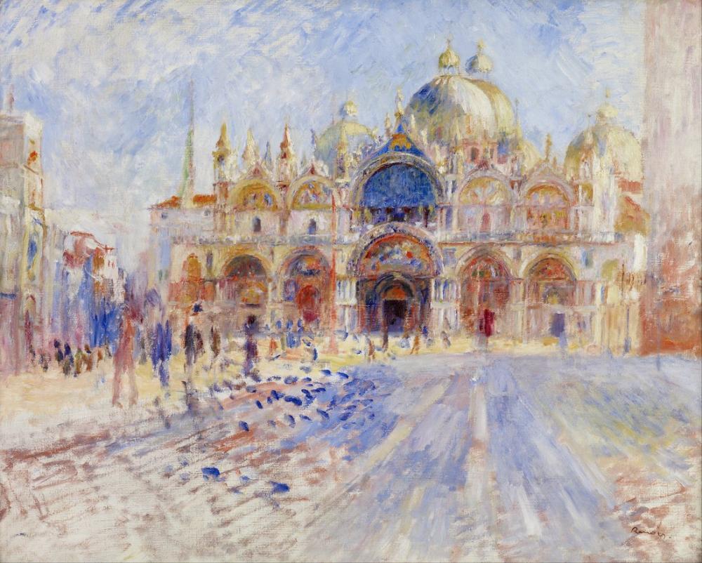 Pierre Auguste Renoir The Piazza San Marco Venice, Canvas, Pierre Auguste Renoir, kanvas tablo, canvas print sales