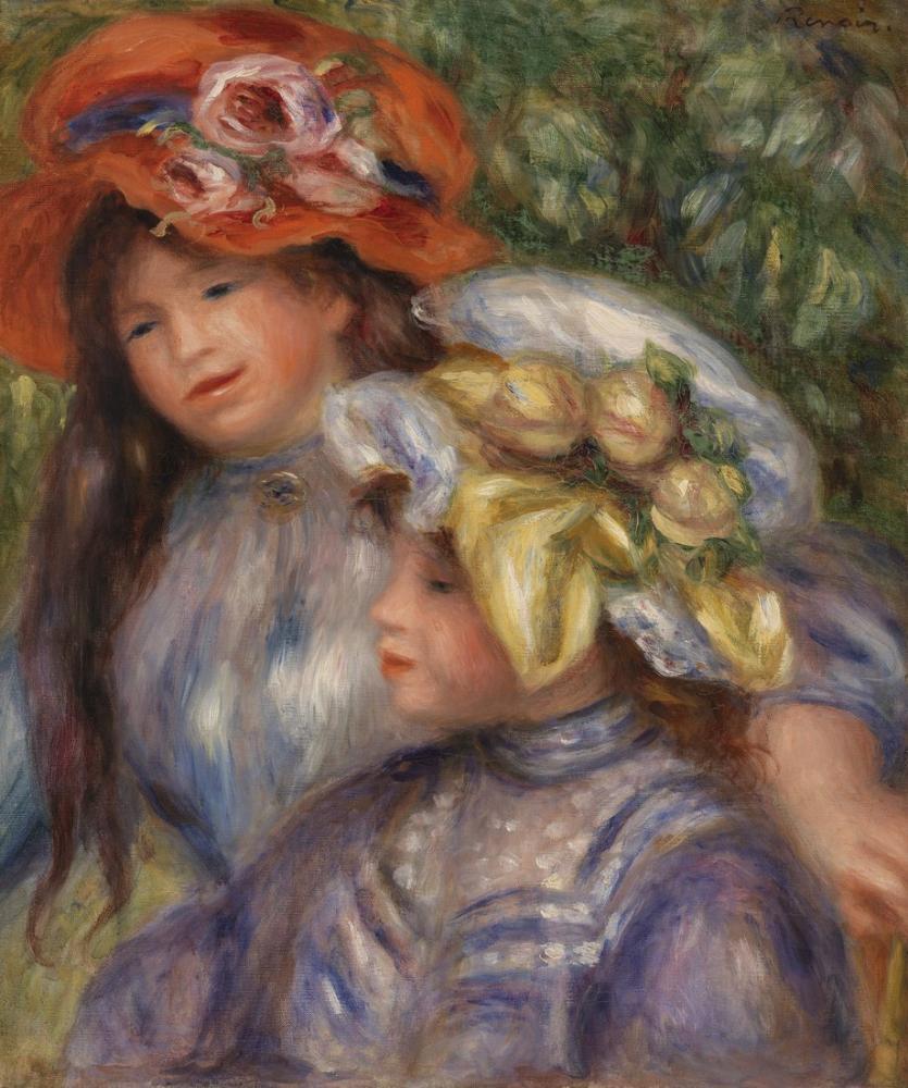 Pierre Auguste Renoir Two Girls, Canvas, Pierre Auguste Renoir, kanvas tablo, canvas print sales