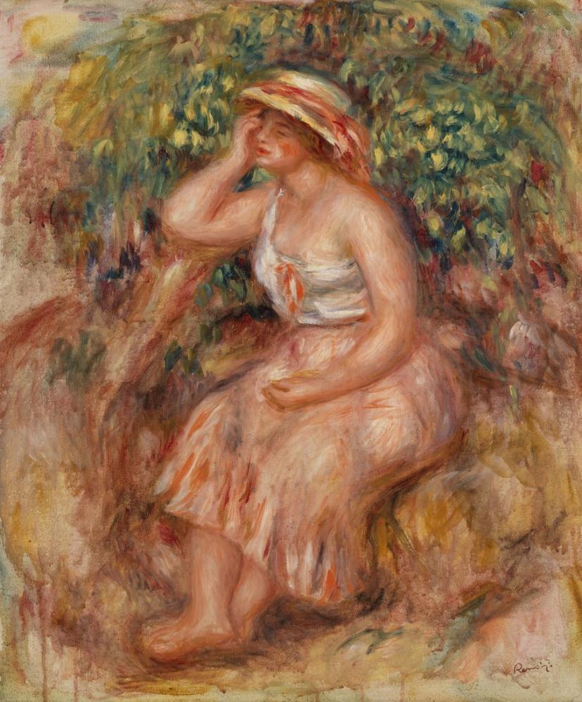Pierre Auguste Renoir Woman Daydreaming, Canvas, Pierre Auguste Renoir, kanvas tablo, canvas print sales