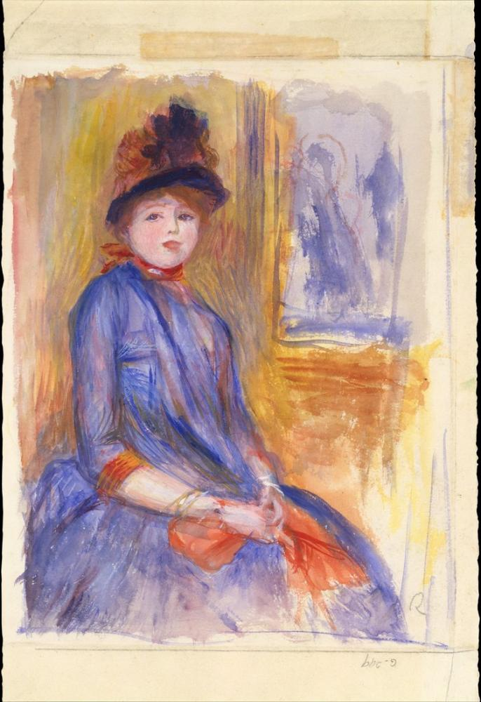 Pierre Auguste Renoir Young Girl in a Blue Dress, Canvas, Pierre Auguste Renoir, kanvas tablo, canvas print sales