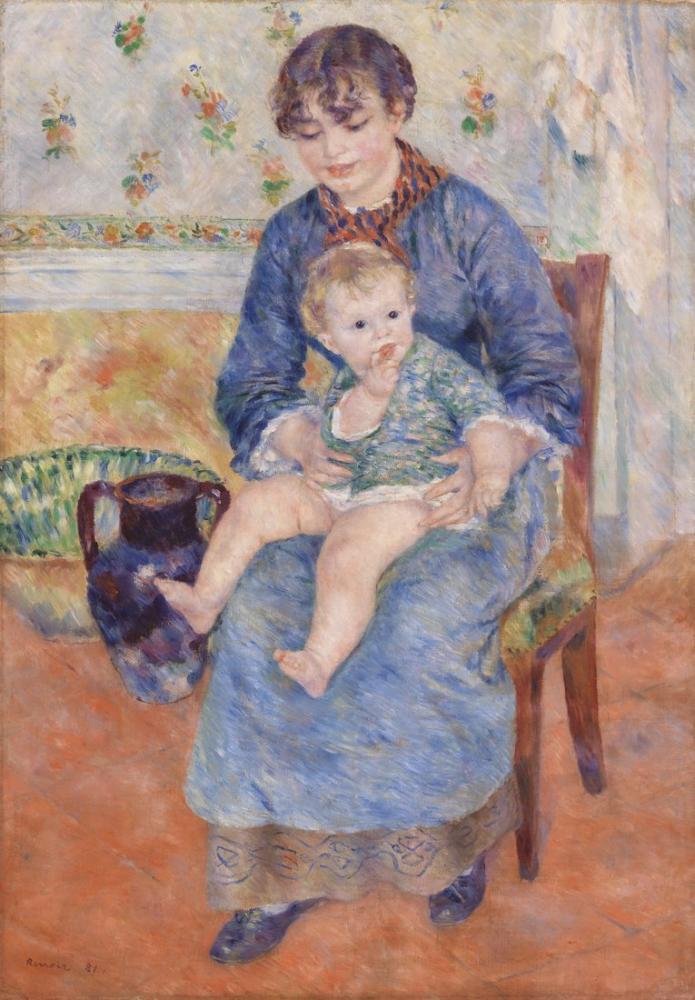 Pierre Auguste Renoir Young Mother, Canvas, Pierre Auguste Renoir