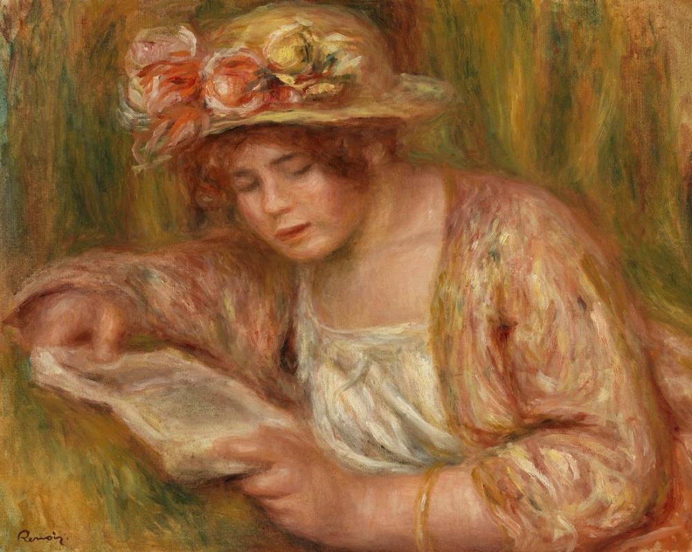Pierre Auguste Renoir Andrée En Chapeau Lisant, Canvas, Pierre Auguste Renoir, kanvas tablo, canvas print sales