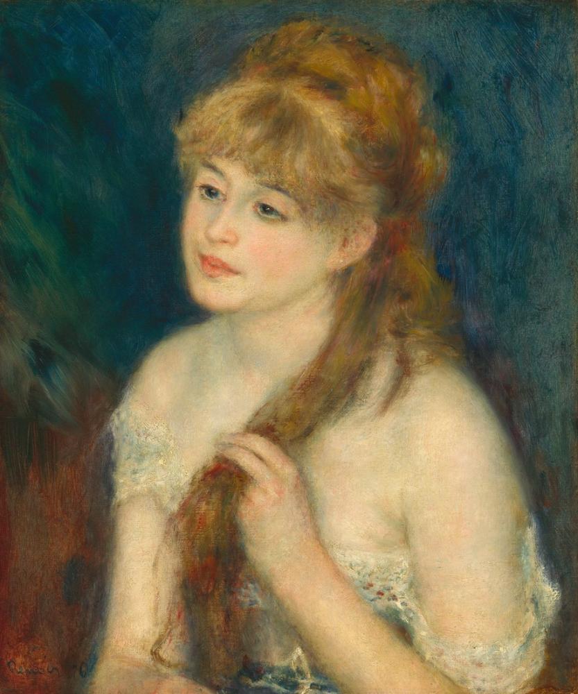 Pierre Auguste Renoir Young Woman Braiding Her Hair, Canvas, Pierre Auguste Renoir, kanvas tablo, canvas print sales