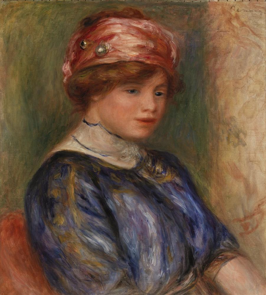 Pierre Auguste Renoir Young Woman in Blue Bust, Canvas, Pierre Auguste Renoir, kanvas tablo, canvas print sales