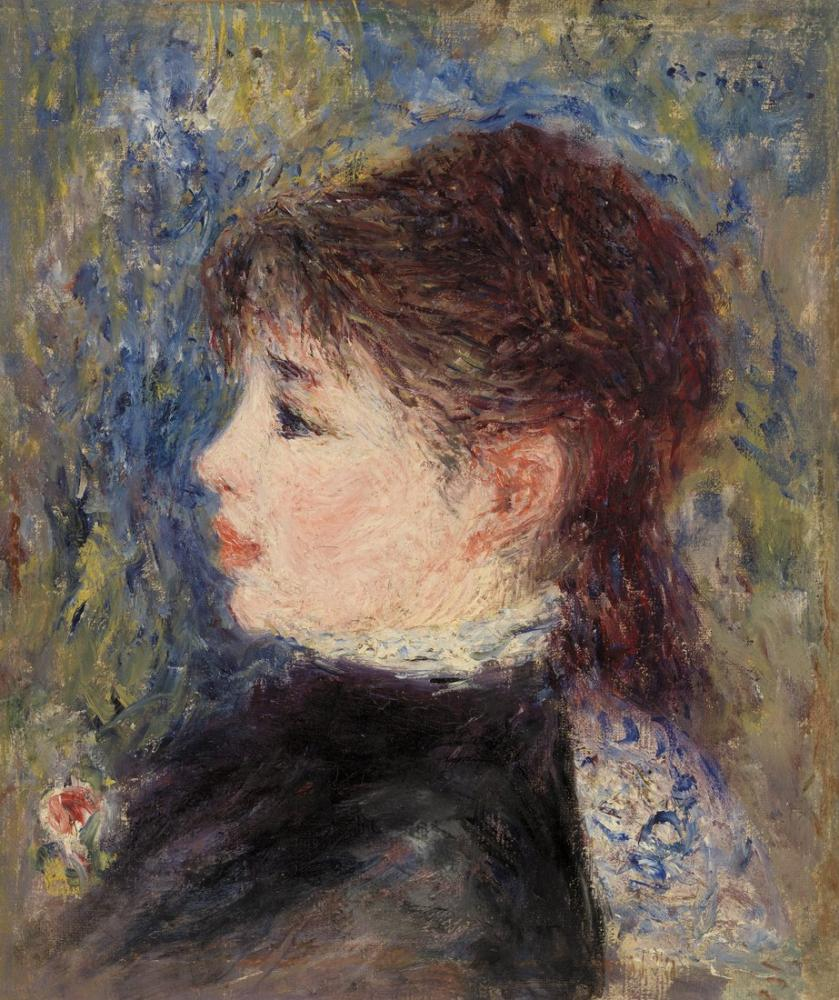 Pierre Auguste Renoir Young Woman with Rose, Canvas, Pierre Auguste Renoir, kanvas tablo, canvas print sales