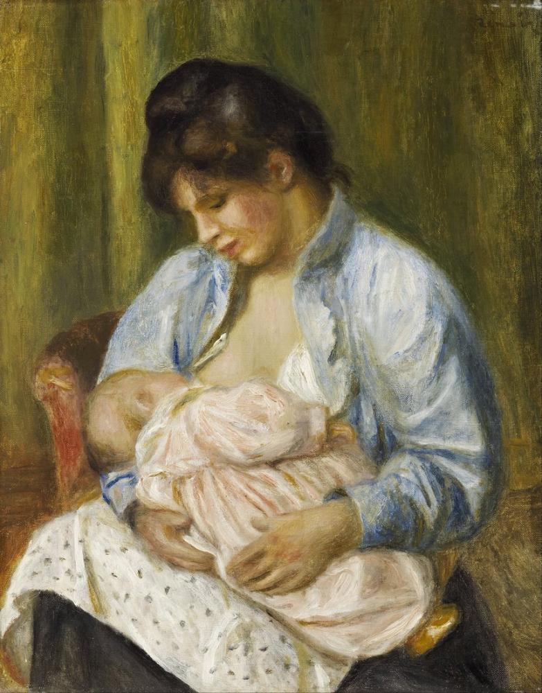 Pierre Auguste Renoir A Woman Nursing a Child, Canvas, Pierre Auguste Renoir, kanvas tablo, canvas print sales