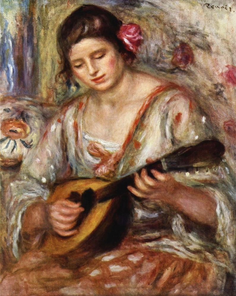 Pierre Auguste Renoir Girl with a Mandolin, Canvas, Pierre Auguste Renoir, kanvas tablo, canvas print sales