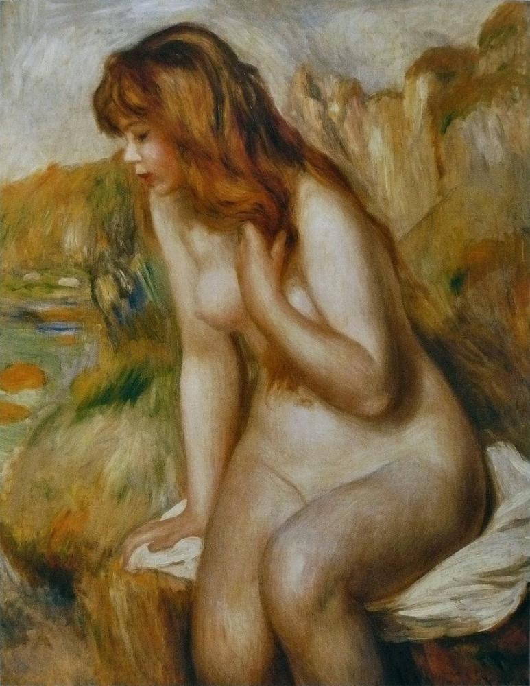 Pierre Auguste Renoir Baigneuse Assise Au Rocher, Canvas, Pierre Auguste Renoir, kanvas tablo, canvas print sales