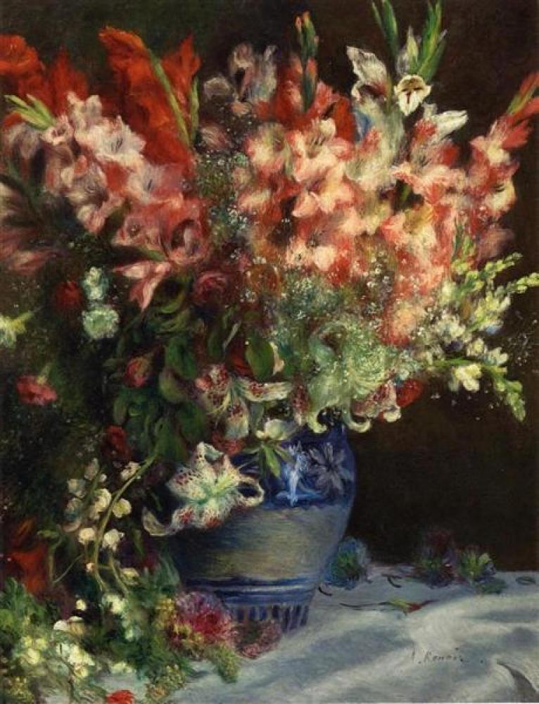 Renoir Gladiolas In A Vase Yağlıboya Tablo, Kanvas Tablo, Pierre Auguste Renoir, kanvas tablo, canvas print sales