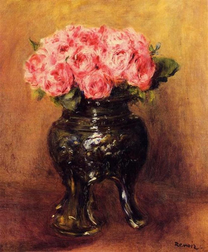 Renoir Çin Vazosunda Güller Yağlıboya Tablo, Kanvas Tablo, Pierre Auguste Renoir, kanvas tablo, canvas print sales