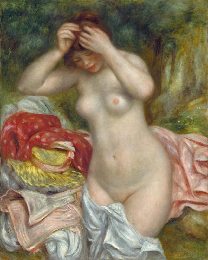 Pierre Auguste Renoir Bather Arranging Her Hair, Canvas, Pierre Auguste Renoir, kanvas tablo, canvas print sales