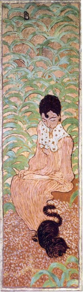 Pierre Bonnard Oturan Kadın İle Bir Kedi, Kanvas Tablo, Pierre Bonnard, kanvas tablo, canvas print sales