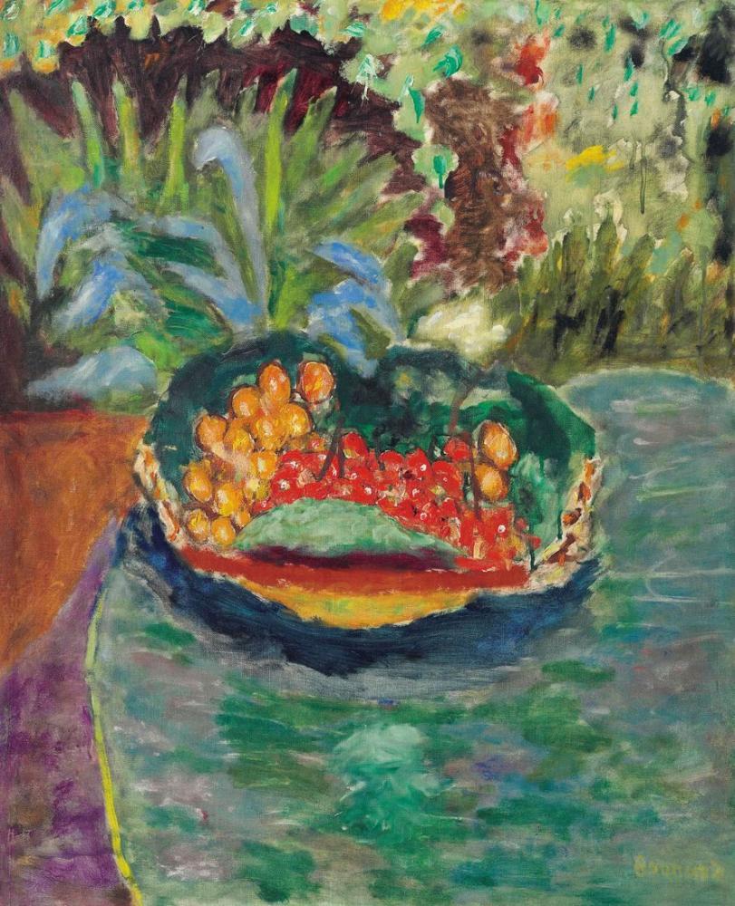 Pierre Bonnard Can Bahçesinde Bir Masada Meyve Sepeti, Kanvas Tablo, Pierre Bonnard, kanvas tablo, canvas print sales